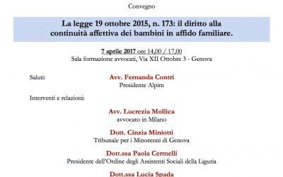 Convegno sulla legge 19 ottobre 2015, n. 173: il diritto alla continuità affettiva dei bambini in affido familiare